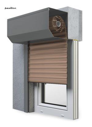 4 Dunkelbeige Fenster Rollladen SK 45 Vorbaurollladen Aluprof