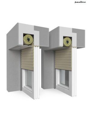 5 beige Fenster Rollladen QuadBox Unterputzrollladen BeClever