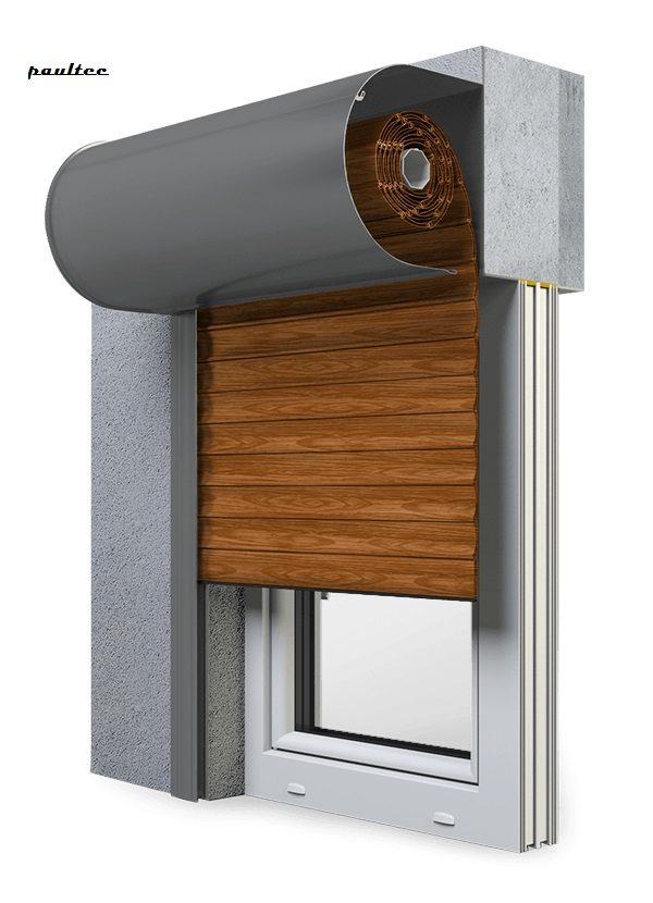 6 Holz dunkel Fenster Rollladen SKO-P Vorbaurollladen Aluprof