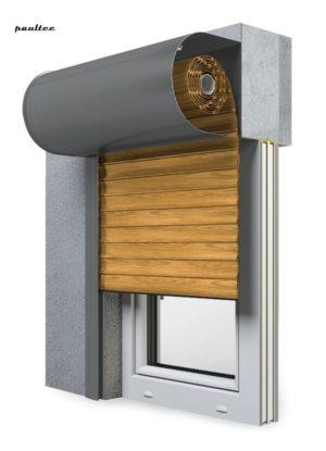 7 Holz hell Fenster Rollladen SKO-P Vorbaurollladen Aluprof