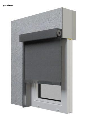 Screen-Rollläden - Textilscreens Schwarzgrau, Granitgrau.